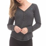 RDS Honeycomb Henley Long Sleeve Womens-Dark Heather Grey-S