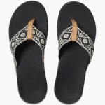 Reef Womens Ortho Bounce Woven Sandal-Black/White-7.0