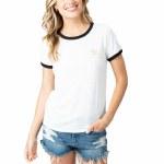 Rip Curl Womens Beach Vibes Ringer Short Sleeve T-Shirt-Bone-S