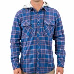Rip Curl Mens Jalama Hooded Flannel Long Sleeve Button-Up-Blue-S
