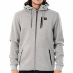 Rip Curl Mens Anti Series Departed Zip Through Zip Hoodie-Grey-S