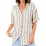 Rip Curl Womens Ashore Stripe Shirt Short Sleeve T-Shirt-Taupe-S
