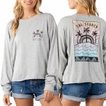 Rip Curl Aztec Palms Cutoff Long Sleeve-Heather Grey-S