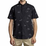 RVCA Mens Johanna Gestures Short Sleeve Button-Up-Black-S