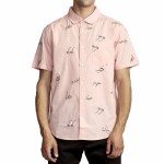 RVCA Mens Johanna Gestures Short Sleeve Button-Up-Pink-S