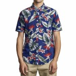 RVCA Mens Motara Short Sleeve Button-Up-Blue-S