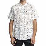 RVCA Mens Calico Short Sleeve Button-Up-Antique White-S