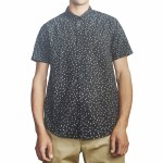 RVCA Mens That'll Do Print Short Sleeve Button-Up-Black/White-S