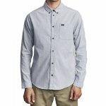 RVCA Mens That'll Do Stretch Long Sleeve Button-Up-Pavement-S