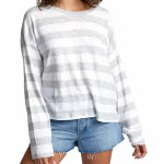 RVCA Womens Talking Crazy Long Sleeve Top-Heather Grey-S