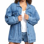 RVCA Womens Lounger Denim Jacket-Washed Out Blue-M