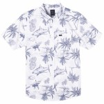 RVCA Mens Panic Point Short Sleeve Button-Up-Antique White-M