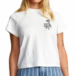 RVCA Womens Peace Out Short Sleeve T-Shirt-Vintage White-S