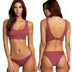 RVCA Womens Solid Bralette Bikini-Plum Berry-S
