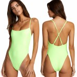 RVCA Womens Flash One Piece Cheeky Bikini-Fluro Lime-S