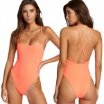 RVCA Womens Flash One Piece Cheeky Bikini-Fluro Pink-S