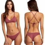 RVCA Womens solid Cheeky Bikini-Plum Berry-S