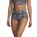 RVCA Womens VA Essential Cheeky Bottom Bikini-Grey Leo-L