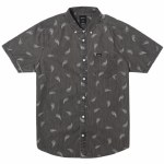 RVCA Mens Hastings Floral Short Sleeve Button-Up-Washed Black-S