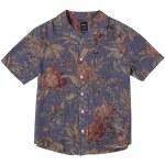 RVCA Mens Beat Print Short Sleeve Button-Up-Indigo-S