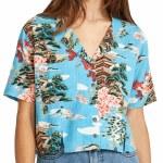 RVCA Womens Vacay Short Sleeve Button-Up-Horizon Blue-S