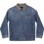 RVCA Mens Chainmail Denim Jacket-Broken Blue Wash-M