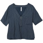 RVCA Cluless Short Sleeve V Neck Woven Top Womens-Navy-M