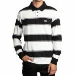 RVCA Mens April Skies Long Sleeve Polo Shirt-White-L