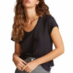 RVCA Womens Vinyl Short Sleeve T-Shirt-Black-XS