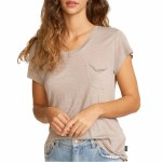 RVCA Womens Vinyl Short Sleeve T-Shirt-Fog-XS