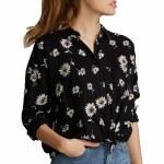 RVCA Womens Hera Short Sleeve Woven-Black-S