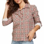 RVCA Womens Jordan Cord Long Sleeve Woven-Nutmeg-S