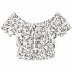 Roxy Womens With The Sun Short Sleeve Top-Snow White Patchfield Micro-S