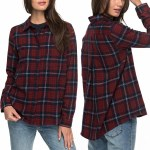 Roxy Heavy Feeling A Long Sleeve Flannel Shirt Womens-Dress Blues Scotty P-L