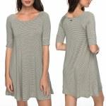 Roxy Smitten Kitten Dress Womens-Olive La Petite Stripe-XS