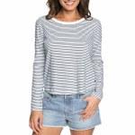 Roxy Love Sun Long Sleeve T Shirt Womens-Marshmallow Thin Stripe-S