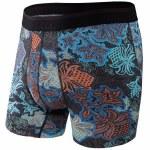 Saxx Mens Platinum Boxer Brief Fly Underwear-Black Bold Paisley-XL