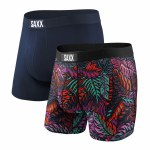 Saxx Mens Vibe Boxer Brief 2 Pack-Dark Denim Tropics/Navy-S