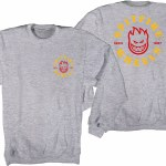 Spitfire Bighead Classic Crew-Grey Heather w/Red & Yellow Prints-S