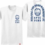 Spitfire Steady Rocking Short Sleeve T Shirt-White w/Blue Prints-L