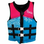 Ronix August Girl's CGA Life Vest-Sky Blue/Pink/Purple-50-90lbs