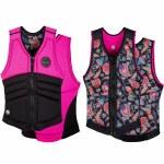 Radar Womens Lyric Reversible Impact Jacket-Black/Hot Pink/Floral-S