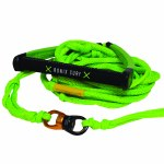 Ronix Spinner PU Synthetic Surf Rope 10 Handle w/ 25ft 10 Section Rope-Lime