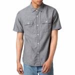 Stussy Chambray Short Sleeve Shirt-Black-L