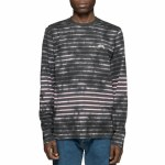 Stussy Bleach Stripe Long Sleeve Crew-Charcoal-M