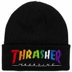 Thrasher Mens Rainbow Mag Beanie-Black-OS