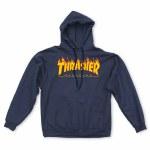Thrasher Mens Fire Logo Hoodie-Navy-S