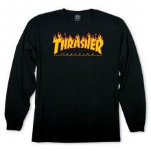 Thrasher Mens Flame Logo Long Sleeve T-Shirt-Black-L