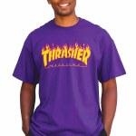 Thrasher Flame Short Sleeve T Shirt-Purple-M