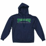 Thrasher Outlined Pullover Hoody-Navy-M